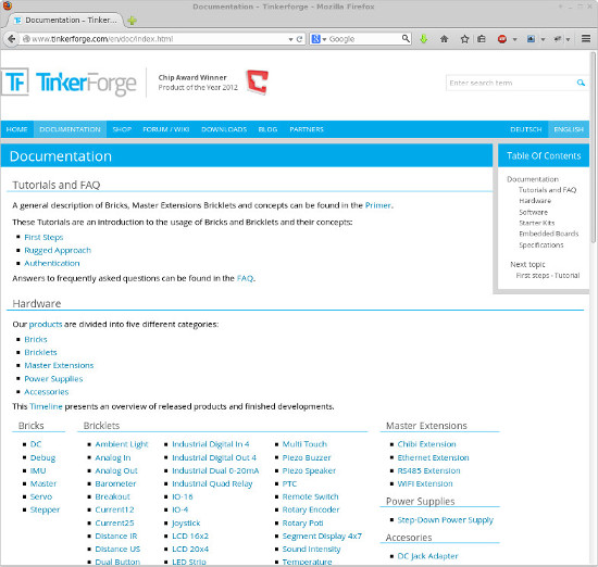 Screenshot of Tinkerforge Documentation